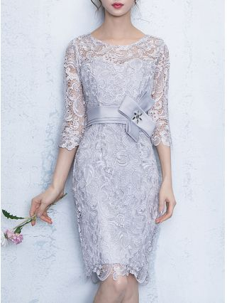 Wedding Guest Dress Silver Grey Dress Three Quarters Sleeve Round Neck Lace See-through Belted Short Party Evening Dresses