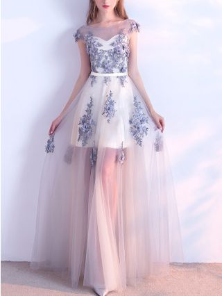 Bridesmaid Dress Grey Dress Sleeveless Round Neck Lace Flower Beading Gauze Maxi Banquet Evening Prom Dresses
