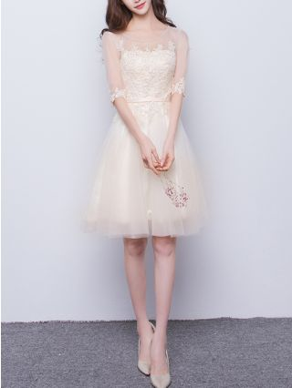 Bridesmaid Dress Champagne Dress Half-sleeve Round Neck Lace Gauze Homecoming Dress Short Banquet Evening Dresses