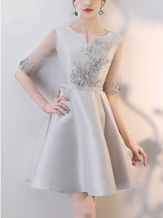 Wedding Guest Dress Grey Dress Half-sleeve Little V-Neck Lace Bowknot Homecoming Dress Short Birthday Party Evening Dresses