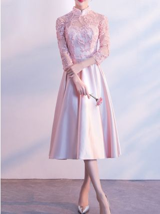 Bridesmaid Dress Pink Dress Stand Collar Three Quarters Sleeve Lace Stitching Homecoming Dress Midi Swing Banquet Evening Dresses