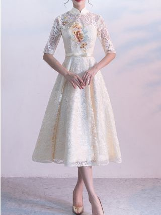Bridesmaid Dress Champagne Dress Vintage Stand Collar Half-sleeve Lace Bowknot Homecoming Dress Party Evening Long Dresses