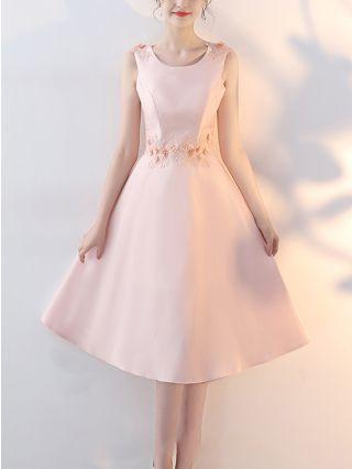 Bridesmaid Dress Pink Dress Sleeveless Round Neck Lace Beading Homecoming Dress Midi Banquet Evening Dresses