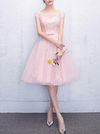 Bridesmaid Dress Pink Dress Short Sleeve Round Neck Lace Gauze Bowknot Homecoming Dress Midi Party Evening Tutu Dresses