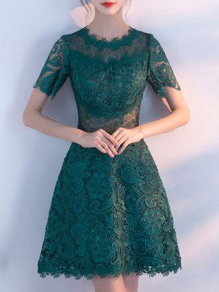Bridesmaid Dress Dark Green Dress Lace Short Sleeve Round Neck See-through Homecoming Dress Short Banquet Evening Dresses