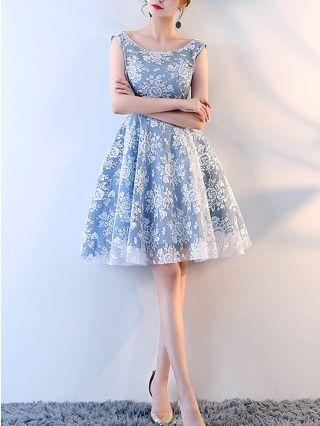 Bridesmaid Dress Blue Dress Sleeveless Round Neck Off the Shoulder Three Quarters Sleeve Lace Gauze Short Party Evening Dresses