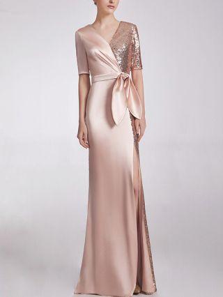 Wedding Guest Dress Rose Gold Dress Half-sleeve V-Neck Sequins Stitching Belted Maxi Split Banquet Evening Prom Dresses