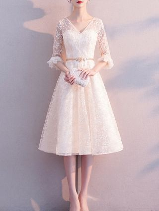 Bridesmaid Dress Champagne Dress V-Neck Ruffled Three Quarters Sleeve Lace See-through Homecoming Dress Belted Midi Banquet Evening Dresses