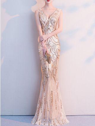 Wedding Guest Dress Gold Dress Sequins Sleeveless V-Neck Open Black Maxi Mermaid Party Evening Prom Dresses