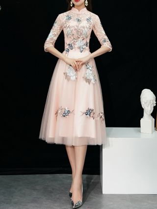 Bridesmaid Dress Pink Dress Half-sleeve Stand Collar Lace See-through Flower Embroidery Midi Banquet Evening Dresses