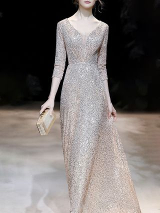 Wedding Guest Dress Gold Dress Black Dress Three Quarters Sleeve V-Neck Sequins Maxi Evening Prom Dresses