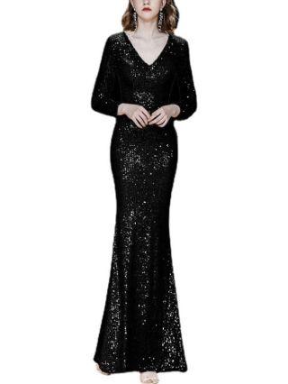 Wedding Guest Dress Black Dress Long Sleeve V-Neck Sequins Maxi Mermaid Banquet Party Evening Dresses