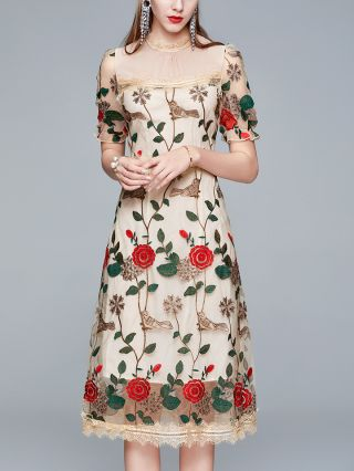 Wedding Guest Dress Apricot Dress Flower Embroidery Ruffled Short Sleeve Gauze See-through Party Evening Long Dresses