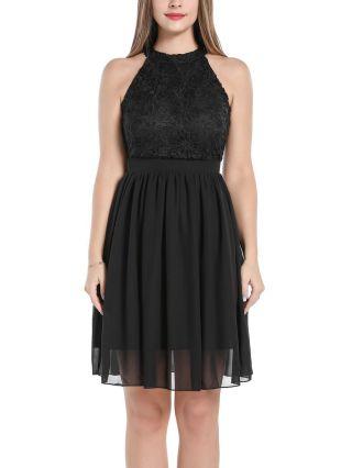 Little Black Dress Halter Sleeveless Round Neck Homecoming Dress Lace Stitching Midi Party Evening Dresses