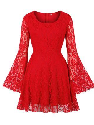 Wedding Guest Dress Black Dress Red Dress Vintage Bell Long Sleeve Round Neck Lace Short Party Evening Dresses