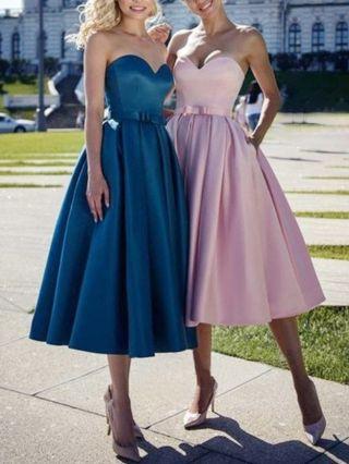 Bridesmaid Dress Pink Dress Tube Top Bowknot Open Back Lace-up Homecoming Dress Satin Banquet Evening Dresses