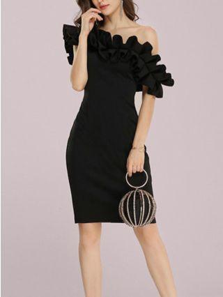 Wedding Guest Dress Black Dress White Dress Ruffled Off the Shoulder Solid Color Satin Party Evening Dresses
