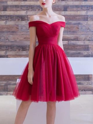 Bridesmaid Dress Burgundy Dress Off the Shoulder Open Back Lace-up Homecoming Dress Gauze Midi Party Evening Dresses