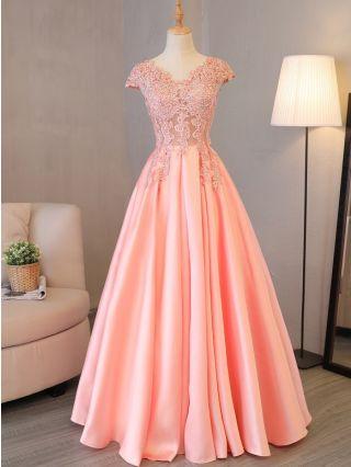 Bridesmaid Dress Pink Dress Elegant Lace Beading Short Sleeve V-Neck Maxi Banquet Evening Prom Dresses