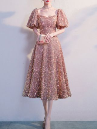 Wedding Guest Dress Gold Dress Puff Sleeve Square Neck Sequins Midi Swing Banquet Party Evening Dresses
