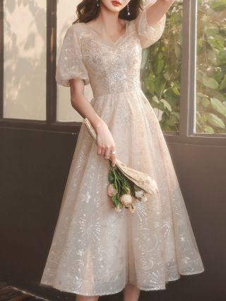 Wedding Guest Dress Champagne Dress Puff Short Sleeve V-Neck Lace Gauze Party Evening Midi Dresses