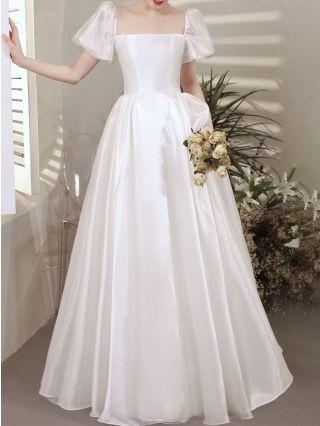 Bridesmaid Dress White Dress French Square Neck Short Sleeve Satin Maxi Evening Prom Dresses