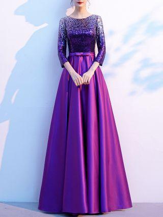 Black Dress Three Quarters Sleeve Round Neck Sequins Stitching Bowknot Maxi Swing Evening Performance Dresses