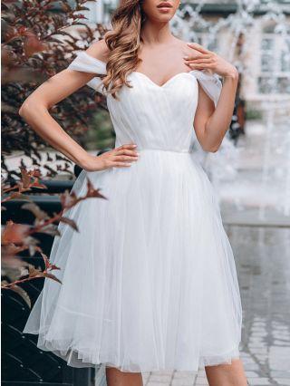 Bridesmaid Dress Off the Shoulder Tube Top Open Back Homecoming Dress Solid Color Gauze Midi Banquet Evening Dresses