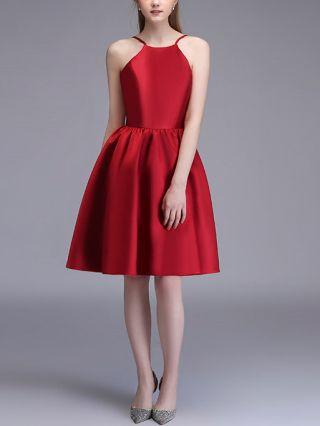 Bridesmaid Dress Red Dress Halter Sleeveless Open Back Homecoming Dress Satin Midi Party Evening Dresses