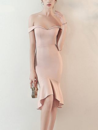 Wedding Guest Dress Black Dress Off the Shoulder Sleeveless Open Back Solid Color Mermaid Party Evening Dresses