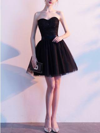 Bridesmaid Dress Black Dress Tube Top Lace Gauze Stitching Open Back Bowknot Homecoming Dress Short Party Evening Dresses