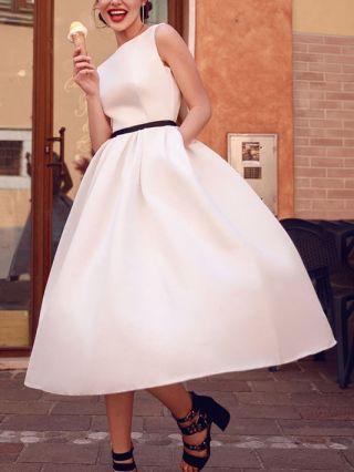 Bridesmaid Dress White Dress Sleeveless Round Neck Satin Homecoming Dress Party Evening Long Dresses