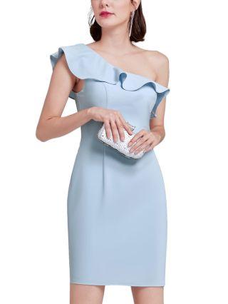 Bridesmaid Dress Blue Dress One Shoulder Sleeveless Ruffled Homecoming Dress Short Party Evening Dresses