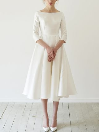 Bridesmaid Dress White Dress Three Quarters Sleeve Round Neck Homecoming Dress Banquet Party Evening Long Dresses