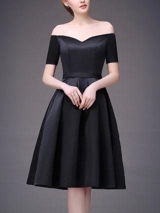Bridesmaid Dress Black Dress Off the Shoulder Short Sleeve Homecoming Dress Satin Midi Party Evening Dresses