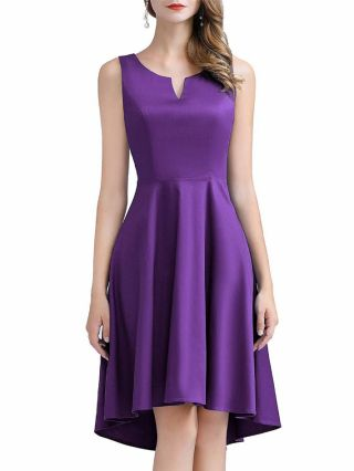 Bridesmaid Dress Purple Dress Sleeveless Little V-Neck Satin Homecoming Dress Irregular Midi Party Evening Dresses