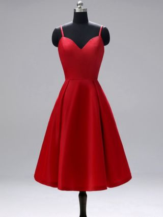 Bridesmaid Dress Red Dress Straps V-Neck Open Back Homecoming Dress Satin Party Evening Long Dresses