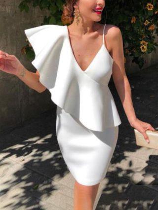 Wedding Guest Dress White Dress Irregular Ruffled One Shoulder Slip V-Neck Short Party Evening Dresses
