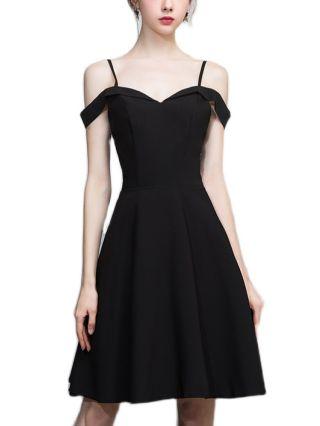 Bridesmaid Dress Black Dress Straps Off the Shoulder Open Back Satin Homecoming Dress Short Party Evening Dresses