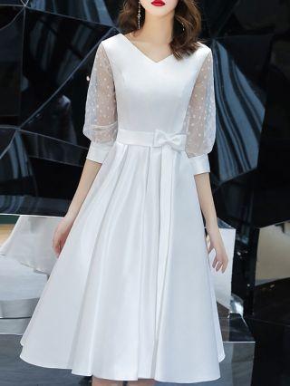 Wedding Guest Dress White Dress Three Quarters Sleeve V-Neck Bowknot Homecoming Dress Satin Midi Swing Party Evening Dresses