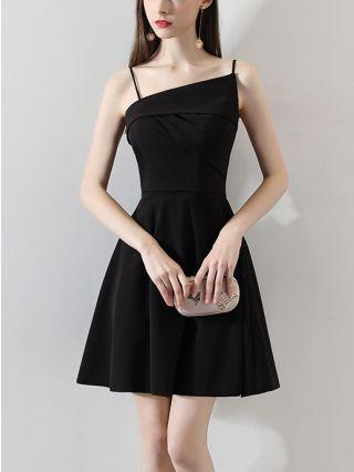 Little Black Dress Irregular Straps Open Back Solid Color Homecoming Dress Short Party Evening Dresses