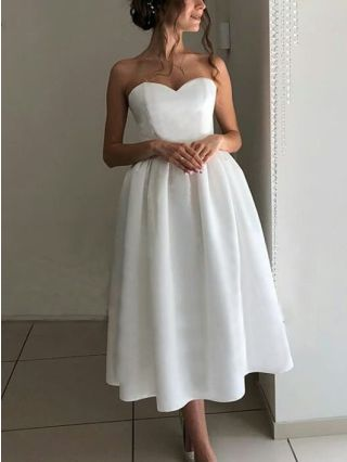 Bridesmaid Dress White Dress Tube Top Open Back Satin Homecoming Dress Solid Color Party Evening Long Dresses