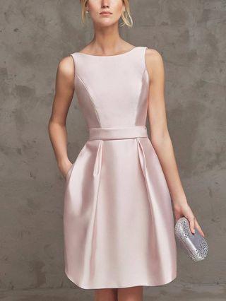 Bridesmaid Dress Champagne Pink Dress Sleeveless Round Neck Satin Homecoming Dress Short Party Evening Dresses