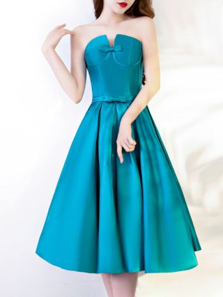 Bridesmaid Dress Blue Dress Tube Top Bowknot Open Back Lace-up Homecoming Dress Satin Party Evening Dresses