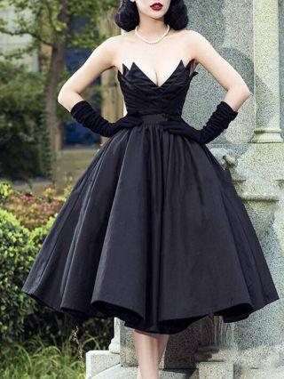 Homecoming Dress Black Dress Tube Top V-NecK Open Back Satin Party Evening Performance Long Dresses