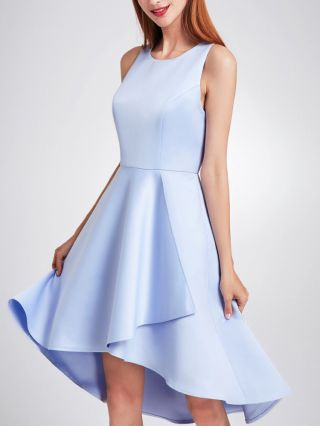 Bridesmaid Dress Blue Dress Sleeveless Round Neck Solid Color Homecoming Dress Irregular High-low Party Evening Dresses