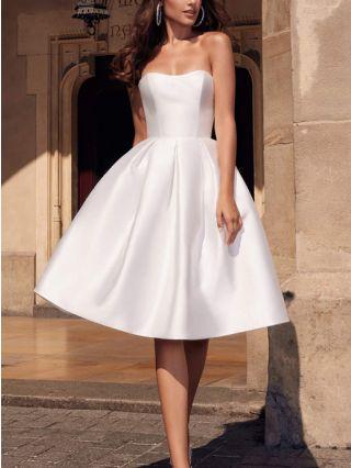 Bridesmaid Dress White Dress Tube Top Satin Open Back Homecoming Dress Midi Performance Party Evening Dresses