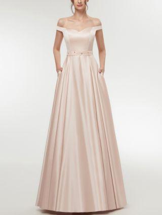 Bridesmaid Dress Champagne Dress Burgundy Dress Off the Shoulder Satin Maxi Evening Prom Dresses