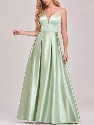 Bridesmaid Dress Green Dress Straps V-Neck Open Back Satin Maxi Swing Party Evening Prom Dresses