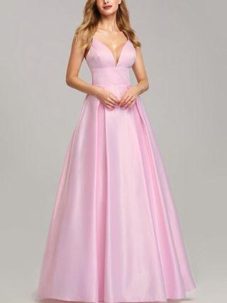 Bridesmaid Dress Pink Dress Slip Deep V-Neck Open Back Satin Maxi Performance Evening Prom Dresses